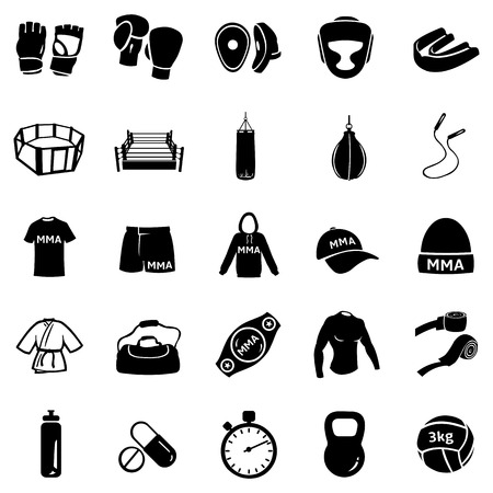 Vector Set of Mix Martial Arts Icons. MMA Icons. Stock Illustratie