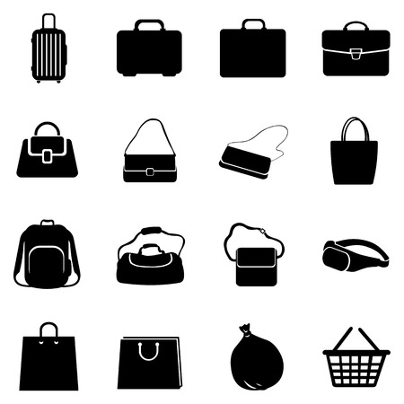 Vector Set of 16 Black Bags Icons