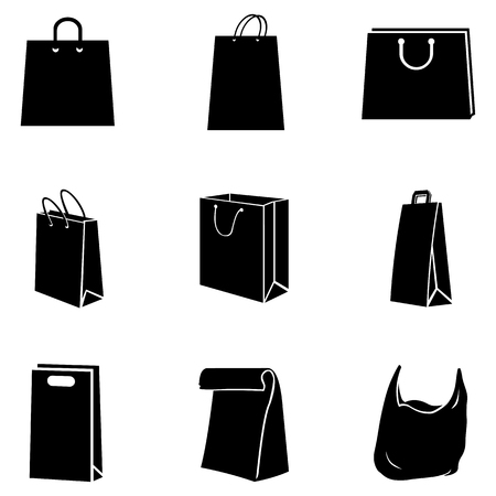 grocery store series: Vector Set of Black Shopping Bags Icons