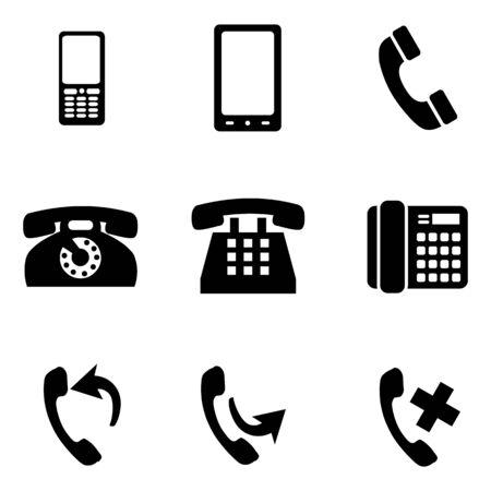 telephone icons: Vector Set of 9 Black Telephone Icons