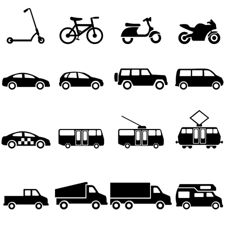 Vector Conjunto de iconos de transporte de tierra negra Ilustración de vector