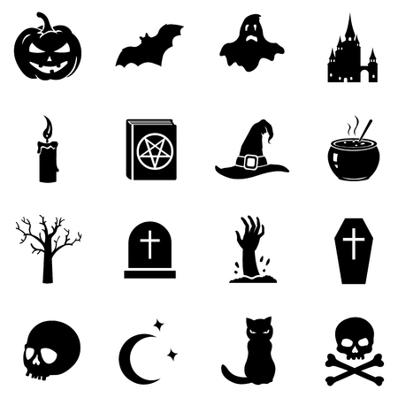 hearse: Vector Set of 16 Black Halloween Icons Illustration