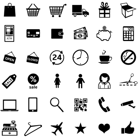detachable: vector set of 36 black shopping icons