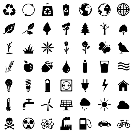 bionomics: Vector Set of Black Basic Ecologic Icons