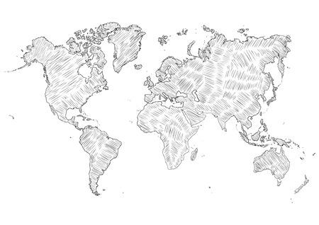 ベクター スケッチ落書き世界地図シルエット イラスト