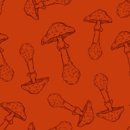 Vector Seamless Pattern Background of Sketch Mushrooms