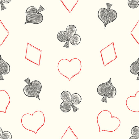 blackjack: Vector Seamless Playing Cards Suits Pattern Background Illustration