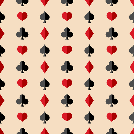 Vector Seamless Playing Cards Suits Pattern Background Ilustração