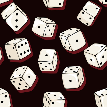 dices: Vector Seamless Pattern Background of Cartoon Dices