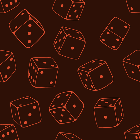 lineart: Vector Seamless Pattern Background of Lineart Dices