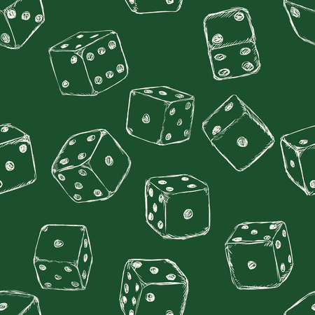 wagers: Vector Seamless Pattern Background of Sketch Dices Illustration