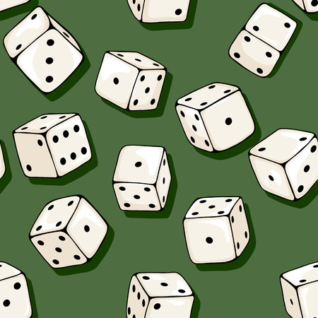 Vector Seamless Pattern Background of Cartoon Dices