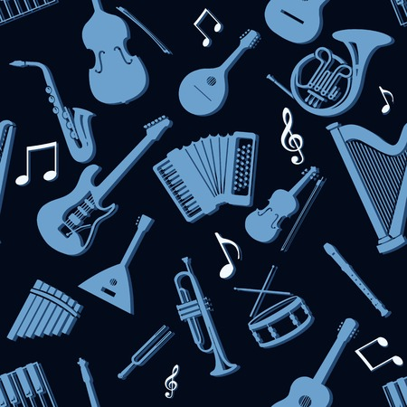 musical background: Vector Seamless Pattern Background of Musical Instriments Illustration