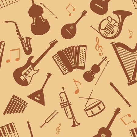 fond: Vector Seamless Pattern Background of Musical Instriments Illustration