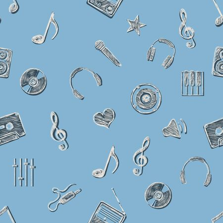 fond: vector seamless pattern background of music symbols