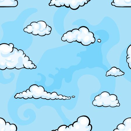 feathery: Vector Seamless Pattern Background - Sky with Clouds