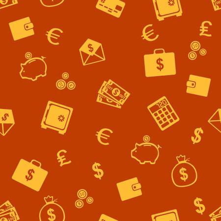 billfold: Vector Seamless Pattern of Finance. Finance, Money, Wealth, Business, Currency.