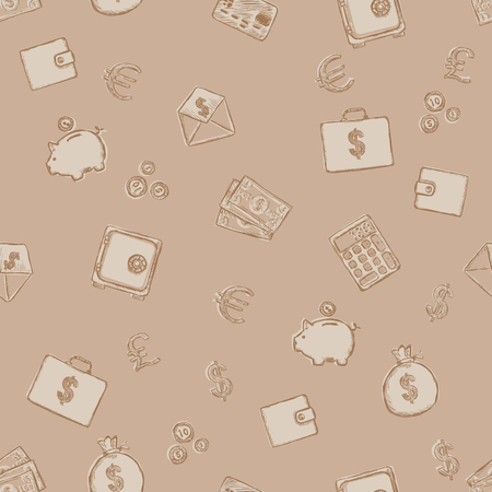 salaries: Vector Seamless Pattern of Finance. Finance, Money, Wealth, Business, Currency.