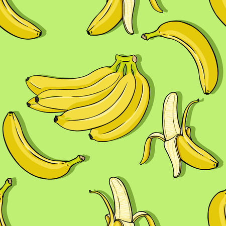 Vector Seamless Pattern Background of Banana Fruits Illustration