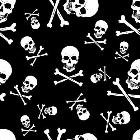 glum: vector seamless pattern with skulls and bones on black background