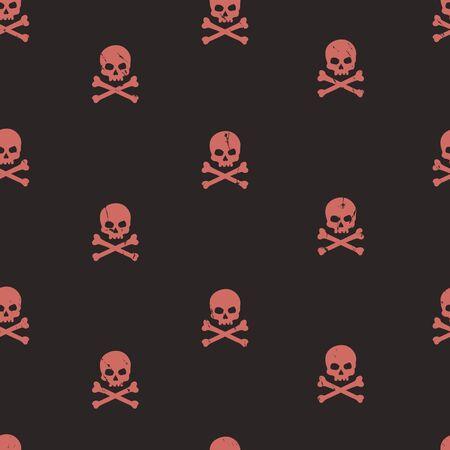 glum: vector seamless grunge pattern with skulls and bones Illustration
