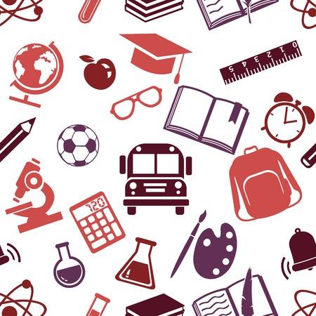 stinks: Vector Seamless Pattern of School Symbols. Back to School Pattern