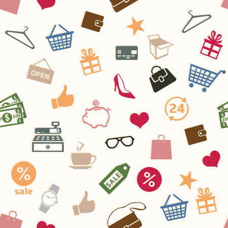 shoe box: Vector Seamless Pattern Background of Shopping Signs.