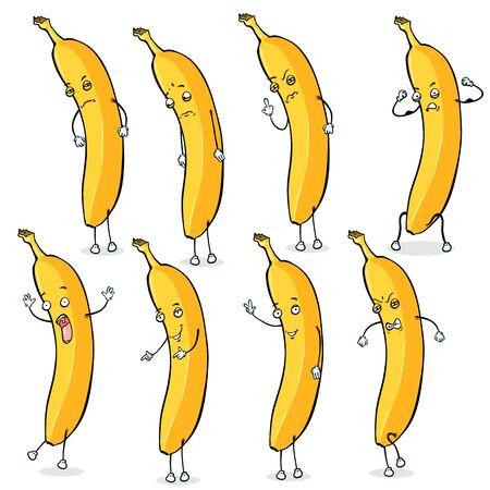 rigorous: Vector Set of Banana Characters. Yellow Banana Man.