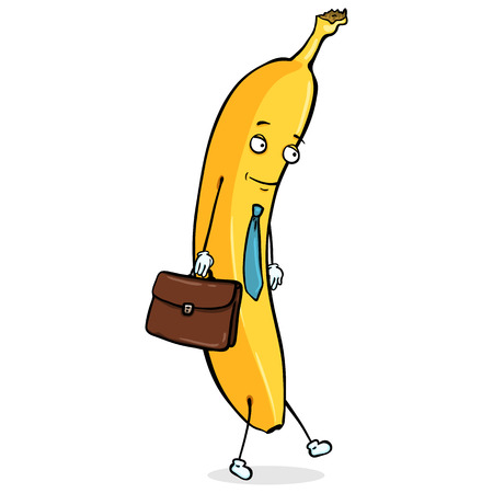 Vector Cartoon Character. Office Worker Banana with Briefcase.. Yellow Banana Man.