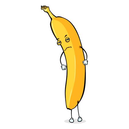 Vector Cartoon Character - Suspecting Banana. Yellow Banana Man. Illustration