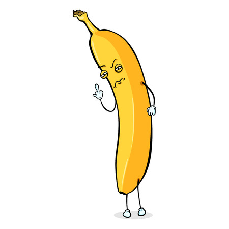 irrespeto: Carácter vectorial de dibujos animados - Falta de respeto plátano. Hombre Amarillo plátano.