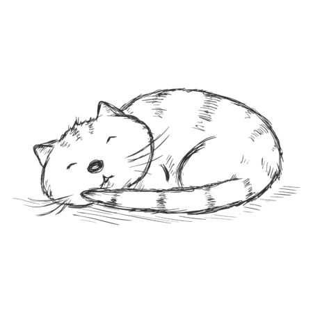 Vector Sketch Cartoon-Charakter - Lustiges Schlafenkatze