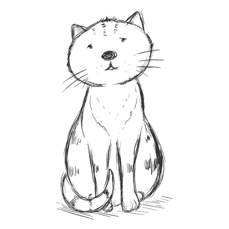 Vector Sketch Character - Funny Sitting and Staring at You Cat
