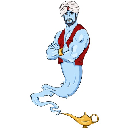 Vector Single Isolated Cartoon Genie and Magic Lamp Illustration
