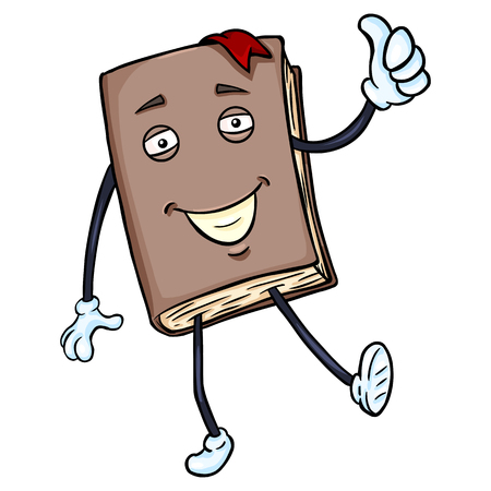 Vector Cartoon Character - Lively Brown Book with Thumb Up Illustration