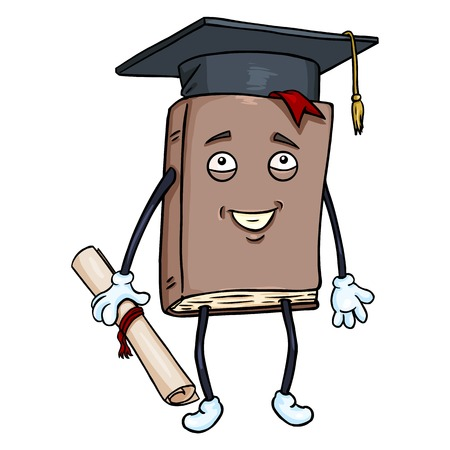 Vector Cartoon Character - Lively Brown Book with Diploma and Academic Hat Illustration