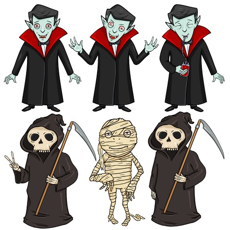 Vector Set of Halloween Characters - Vampire, Mummy and Death.