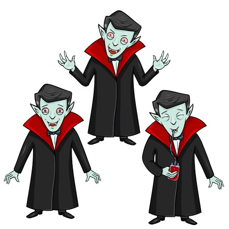 smilling: Vector Set of Halloween Characters - Vampire. Smilling, Attacking and Drinking Blood.