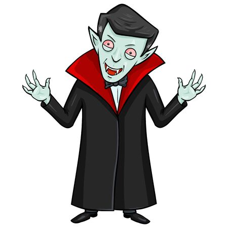 attacking: Vector Isolated Halloween Character - Evil Attacking Vampire