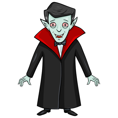 mummery: Vector Single Isolated Halloween Character - Smiling Vampire.