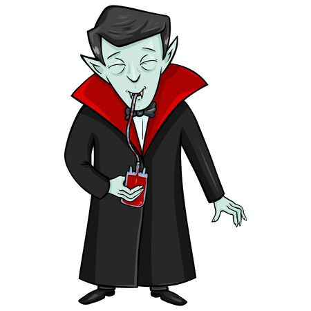 Vector Isolated Halloween Character - Vampire Drinks Blood