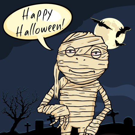 fearsome: Vector Halloween Postcard. Smiling Mummy with Bubble - Happy Halloween.