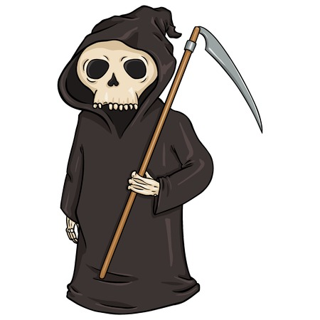 guadaña: Carácter vector de la historieta de Halloween - Muerte con la guadaña.