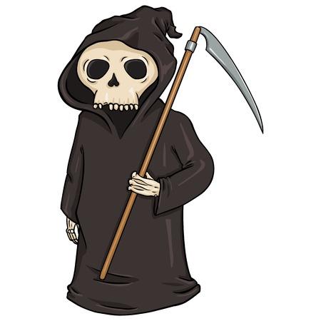 fearsome: Vector Cartoon Halloween Character - Death with Scythe.