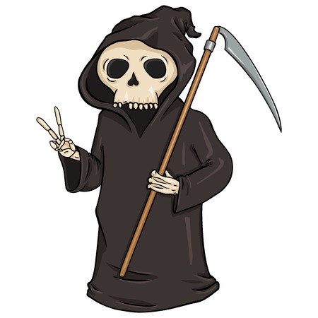 scythe: Carácter vector de la historieta de Halloween - Muerte con la guadaña.