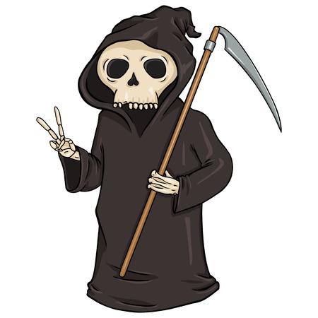cowl: Vector Cartoon Halloween Character - Death with Scythe.