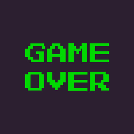 resignation: vector pixel message: game over. Dark Background