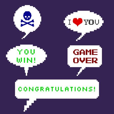the game is over: Vector Set of Pixel Bubbles. Skull with Crossbones. I love you. Game Over. You Win. Congratulations. Illustration