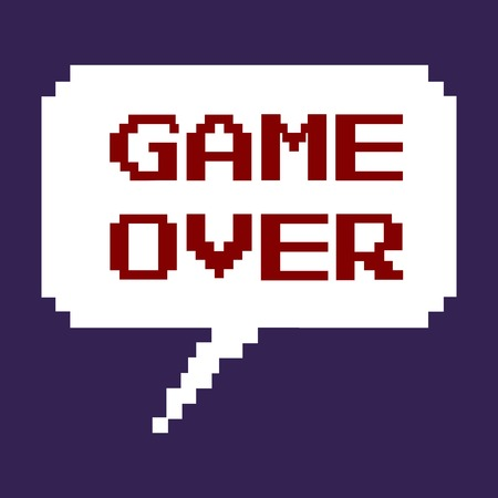 the game is over: Vector Pixel Bubble - Game Over. Dark Background