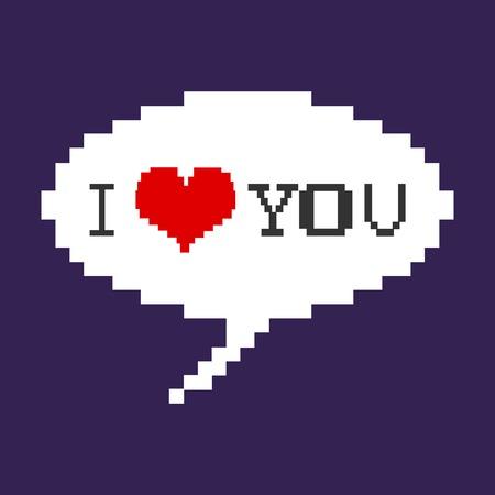 rectángulo: Vector de la burbuja del pixel - Te Amo. Fondo oscuro